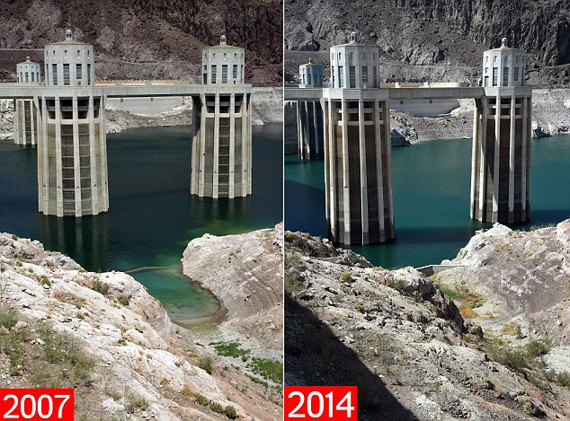LAKE MEAD NRA, AZ - JULY 30: In this In this before-and-after composite image, (Top) The Arizona Intake Towers at the Hoover Dam July 30, 2007 in the Lake Mead National Recreation Area, Arizona. (Photo by Ethan Miller/Getty Images) LAKE MEAD, NRA, AZ - JULY 17: (Bottom) The Arizona Intake Towers at the Hoover Dam are shown on July 17, 2014 in the Lake Mead National Recreation Area, Arizona. Last week, North America's largest man-made reservoir dropped below 1,082 feet above sea level, the lowest it's been since the Hoover Dam was built in the 1930s. A 14-year drought in the Southwestern United States and a dwindling supply of water from the Colorado River, in part due to cuts in the reservoir's annual allocation of water from Lake Powell, has left a white 'bathtub ring' of mineral deposits left by higher water levels on the rocks around the lake as high as 130 feet. The National Park Service has been forced to close or extend boat launch ramps, and move entire marinas to try to keep up with the receding water levels. (Photo by Ethan Miller/Getty Images)