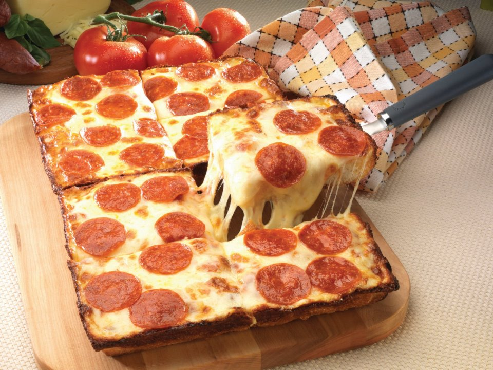 A perfect example of Detroit style pizza